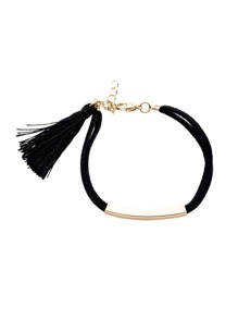 Black Tassel Metal Trim Charm Bracelet