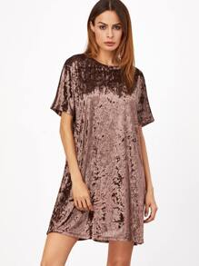 Brown Short Sleeve Velvet Shift Dress