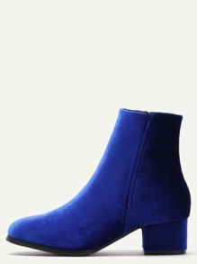Blue Velvet Side Zipper Chunky Heel Booties