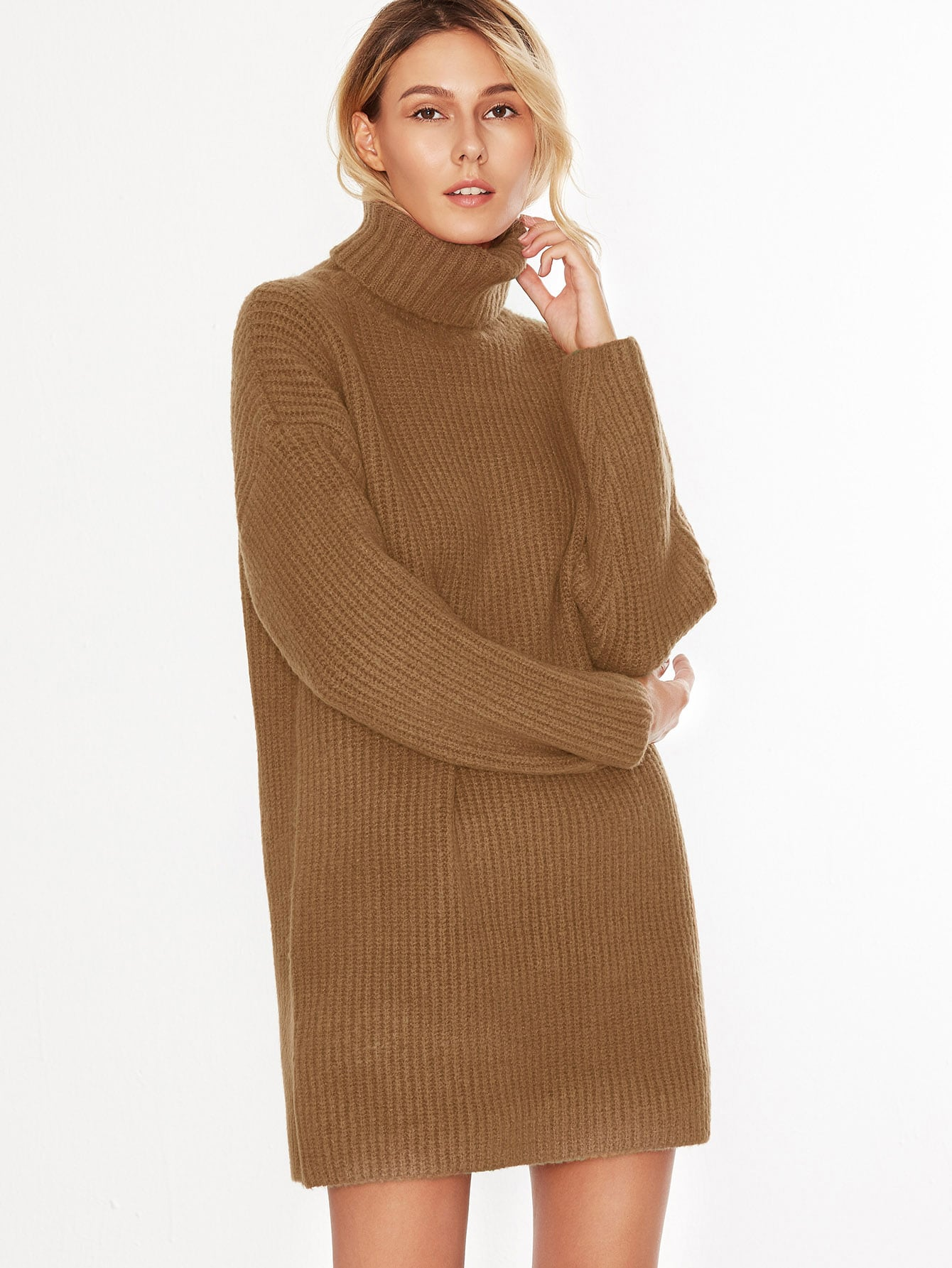 Camel Turtleneck Drop Shoulder Sweater Dress EmmaCloth-Women Fast ...
