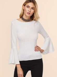 White Bell Sleeve Slim Fit T-shirt