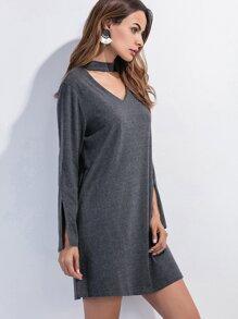Dark Grey Cut Out Slit Sleeve Shift Dress