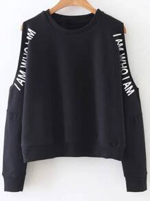 Black Letter Print Open Shoulder Sweatshirt