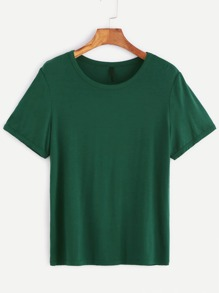 Green Round Neck Short Sleeve T-shirt