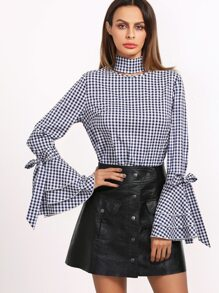 Navy Gingham Cutout Neck Bow Tie Bell Sleeve Blouse
