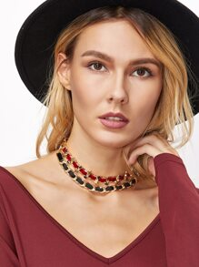 Red And Black Double Layer Star Choker Necklace