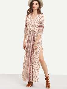 Apricot Vintage Print Half Sleeve Split Maxi Dress
