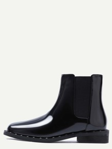 Black Patent Leather Point Toe Studded Chelsea Boots