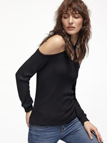 Black Ribbed Knit Keyhole Halter Neck Cold Shoulder T-shirt