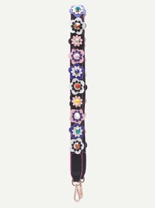 Mulitcolor Floral Patch PU Shoulder Strap