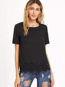 Black Laser Cutout Scallop Hem Top