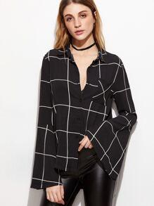 Black Grid Ruffle Sleeve Blouse