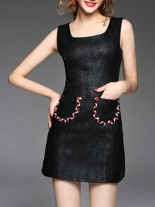 Black Boat Neck Pockets Sheath Dress