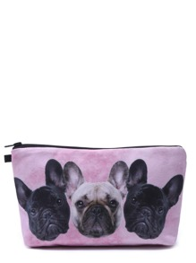 Pink Puppy Head Print Portable Cosmetic Makeup Bag