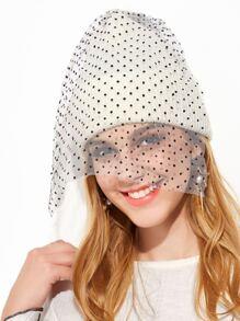 White Contrast Pom Pom Mesh Veil Beanie Hat