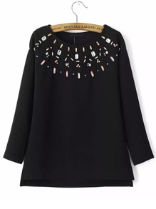 Black Rhinestone Embellished Slit Side Sweatshirt