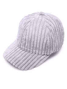 Light Grey Ribbed Velvet Warm Baseball Cap