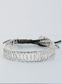Metallic Ring Tie Choker SILVER