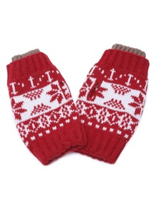 Red Snowflake Fingerless Ribbed Knit Gloves