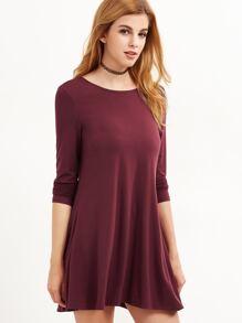 Burgundy Long Sleeve Swing Dress
