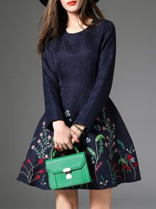 Navy Flowers Embroidered Jacquard A-Line Dress