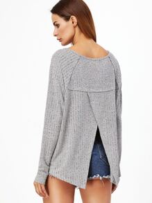 Heather Grey Raglan Sleeve Split Back T-shirt