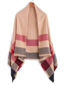 Khaki Contrast Plaid Fringe Edge Square Shawl Scarf