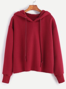 Burgundy Drawstring Hooded Raw Hem Sweatshirt