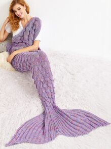 Dusty Purple Crocheted Fish Scale Design Mermaid Blanket
