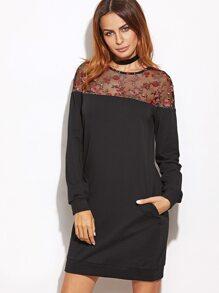 Black Embroidered Mesh Yoke Sweatshirt Dress