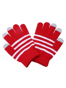 Red Striped Knit Textured Telefingers Gloves