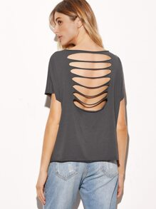 Grey Boat Neck Ripped Back T-shirt