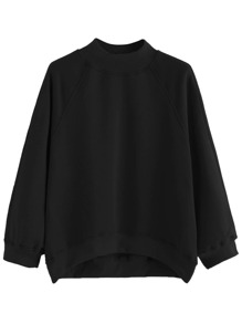 Black Raglan Sleeve Dip Hem Sweatshirt
