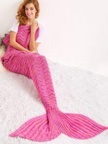 Pink Crocheted Wave Stripe Mermaid Tail Blanket