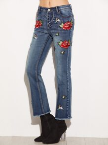 Blue Frayed Flare Jeans With Embroidered Applique Detail