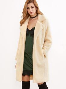 Apricot Faux Shearling Drop Shoulder One Button Coat