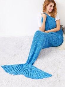 Lake Blue Knit Textured Mermaid Blanket