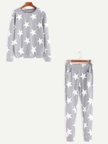 Grey Stars Print Sweatshirt With Elastic Waist Pants