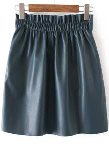 Dark Green Elastic Waist PU Skirt