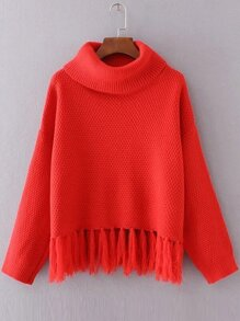 Red Turtleneck Drop Shoulder Fringe Hem Sweater