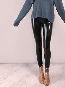 Black Crop Coated Leggings