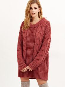 Brick Red Cable Knit Chunky Sweater