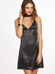 Black Lattice Back Slip Dress With Neck Tie Detail