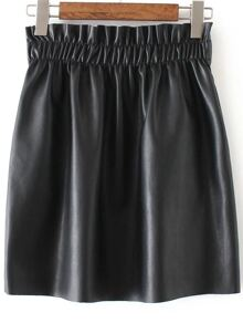 Black Elastic Waist PU Skirt