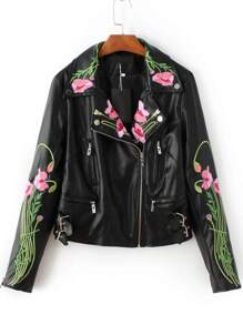 Black Floral Embroidery Oblique Zipper PU Jacket