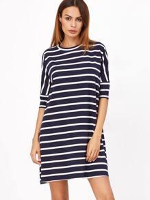 Navy And White Striped Half Sleeve Tee Dress