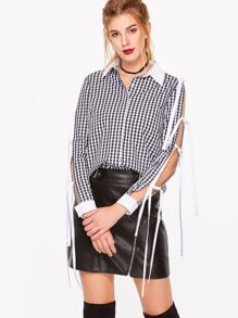 Black And White Gingham Contrast Trim Tied Split Sleeve Blouse