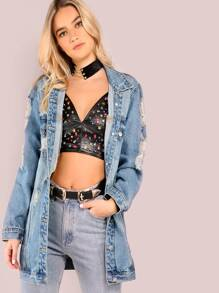 Light Mineral Washed Distressed Denim Jacket DENIM