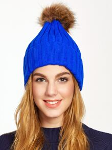 Royal Blue Pom Pom Ribbed Knit Hat