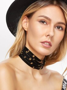 Black Layered Metal Star Wide Choker Necklace